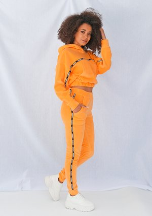Neon orange velvet pants with side stripe ILM