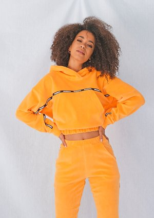 Neon orange velvet sweatshirt with side stripe ILM