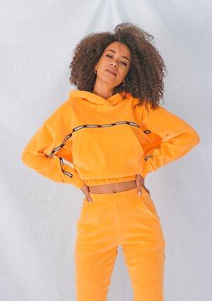 Neon orange velvet sweatshirt with side stripe ILM