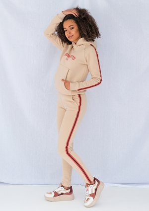 Beige pants with red side stripe ILM