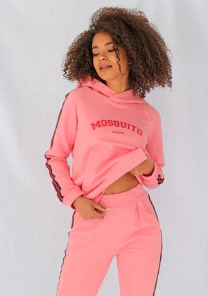 Coral pink sweatshirt with red side stripe ILM