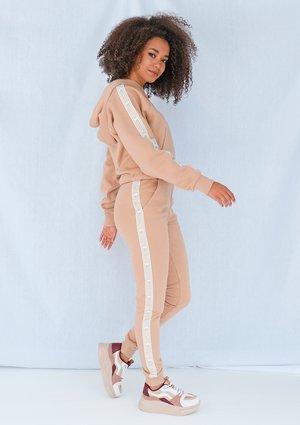 Beige sweatpants with jacquard logo side stripe ILM