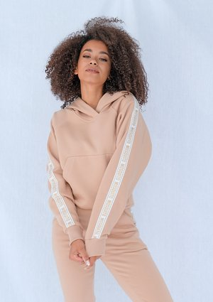 Beige sweatshirt with jacquard logo side stripe ILM