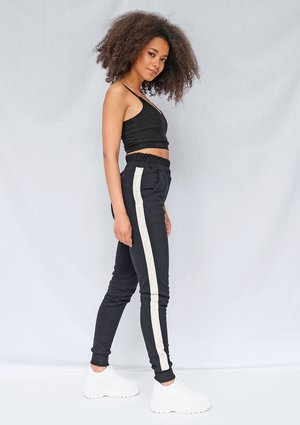 Black sweatpants with jacquard logo side stripe ILM