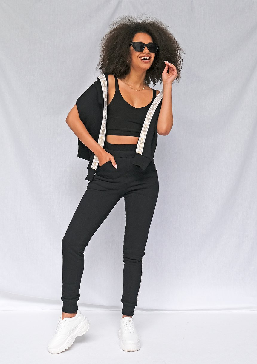 Spodnie z lampasem Gold logo czarne ILM