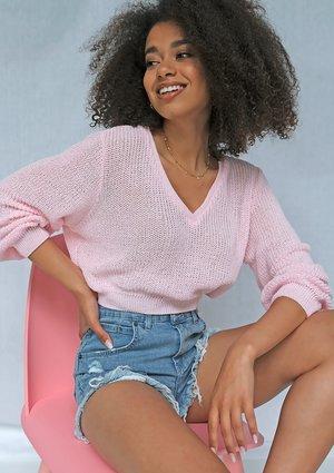 Sweter V neck z bawełny Candy Pink ILM
