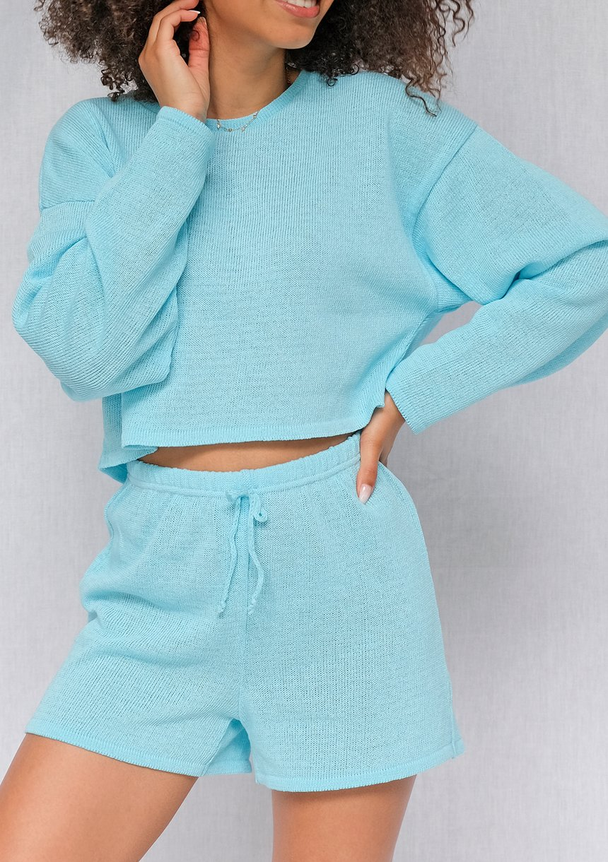 Sweter bawełniany o luźnym kroju Turkus ILM