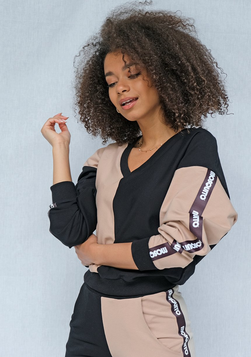 Bluza dresowa Latte z lampasami black ILM