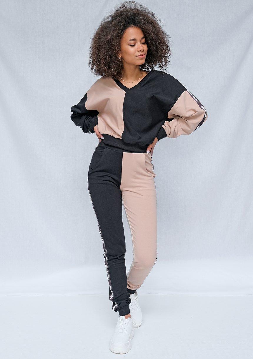 Spodnie dresowe Latte z lampasami black