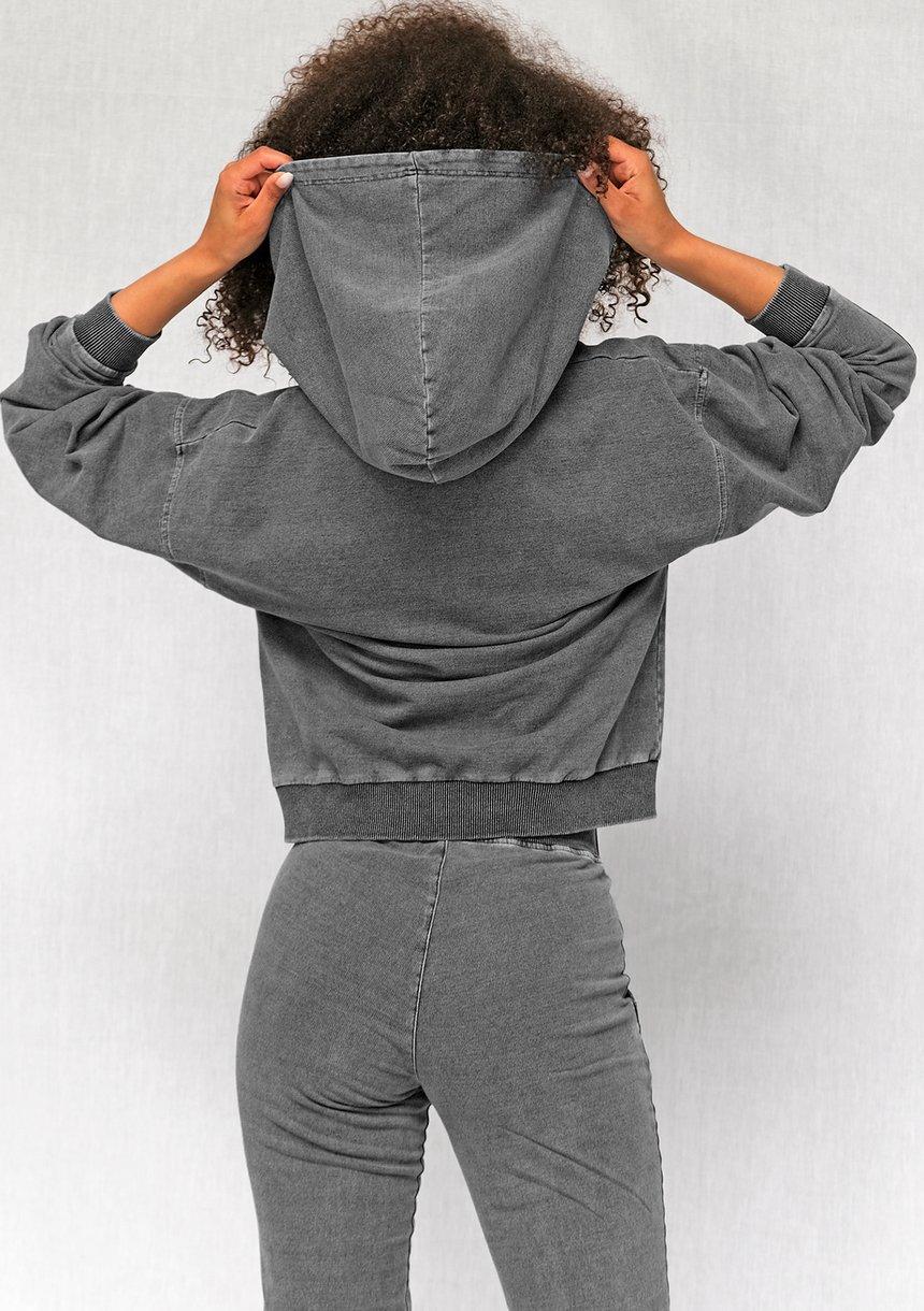 Bluza z kapturem z bawełny Black Denim ILM