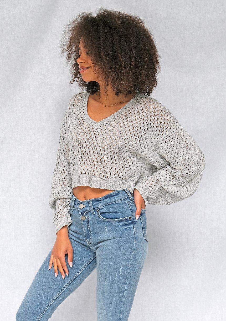 Ażurowy sweter z bawełny o luźnym kroju Szary ILM