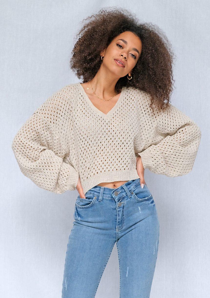 Ażurowy sweter z bawełny o luźnym kroju Beżowy ILM