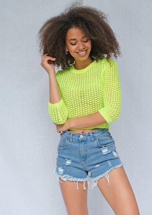 Krótki sweter ażur neon żółty ILM