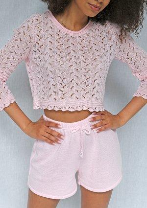 Sweter o splocie szydełkowym Pudrowy róż ILM