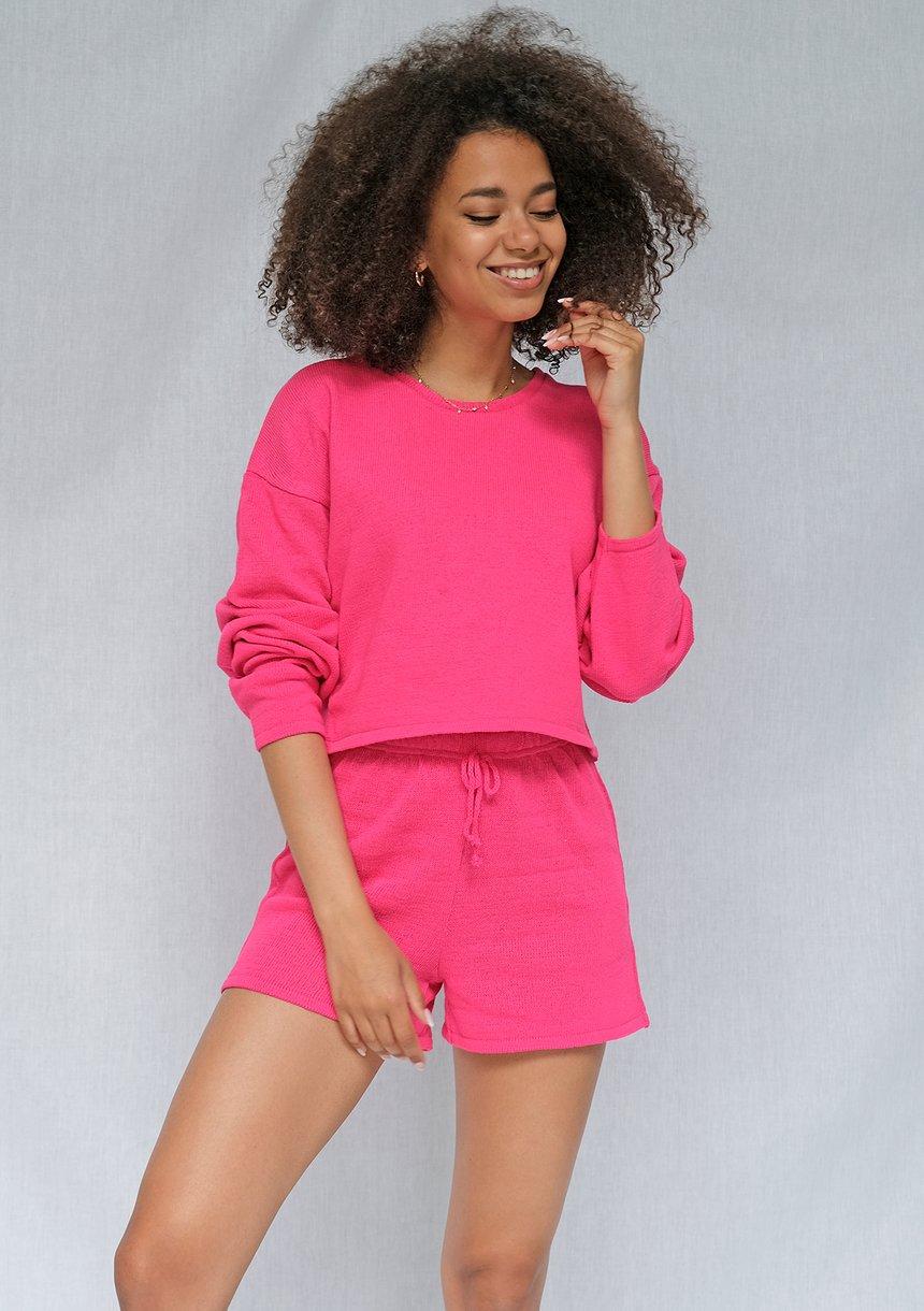 Sweter bawełniany o luźnym kroju Fuksja ILM