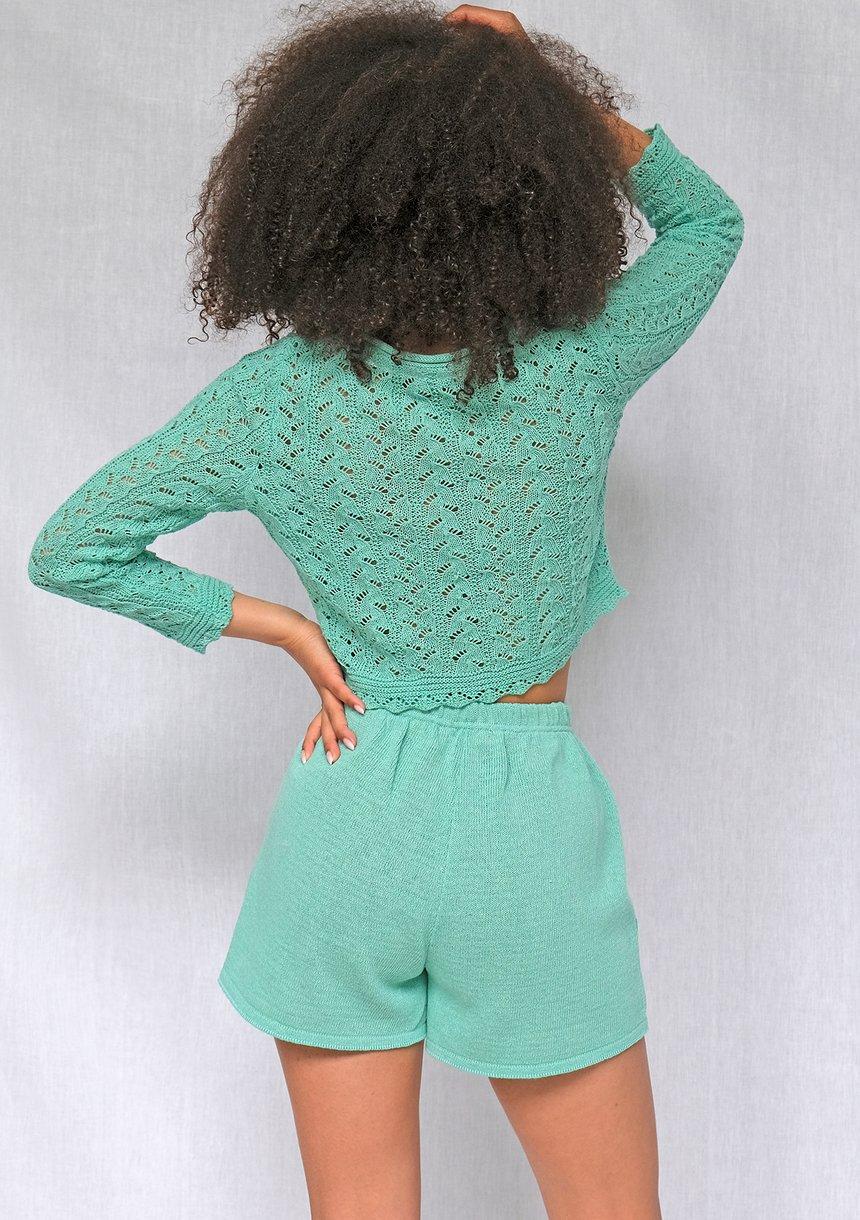 Sweter o splocie szydełkowym Miętowy iLM