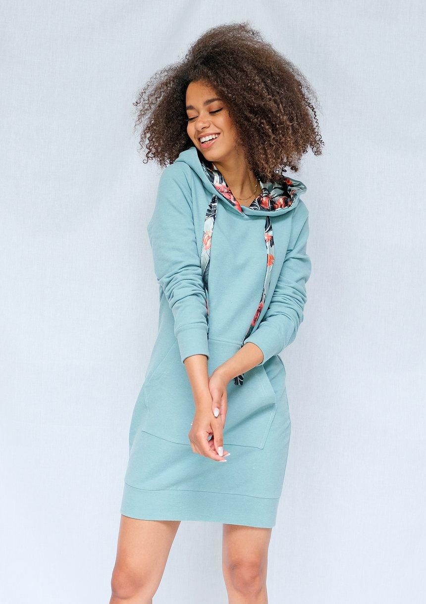 Bluzo sukienka z kapturem exotic leaves