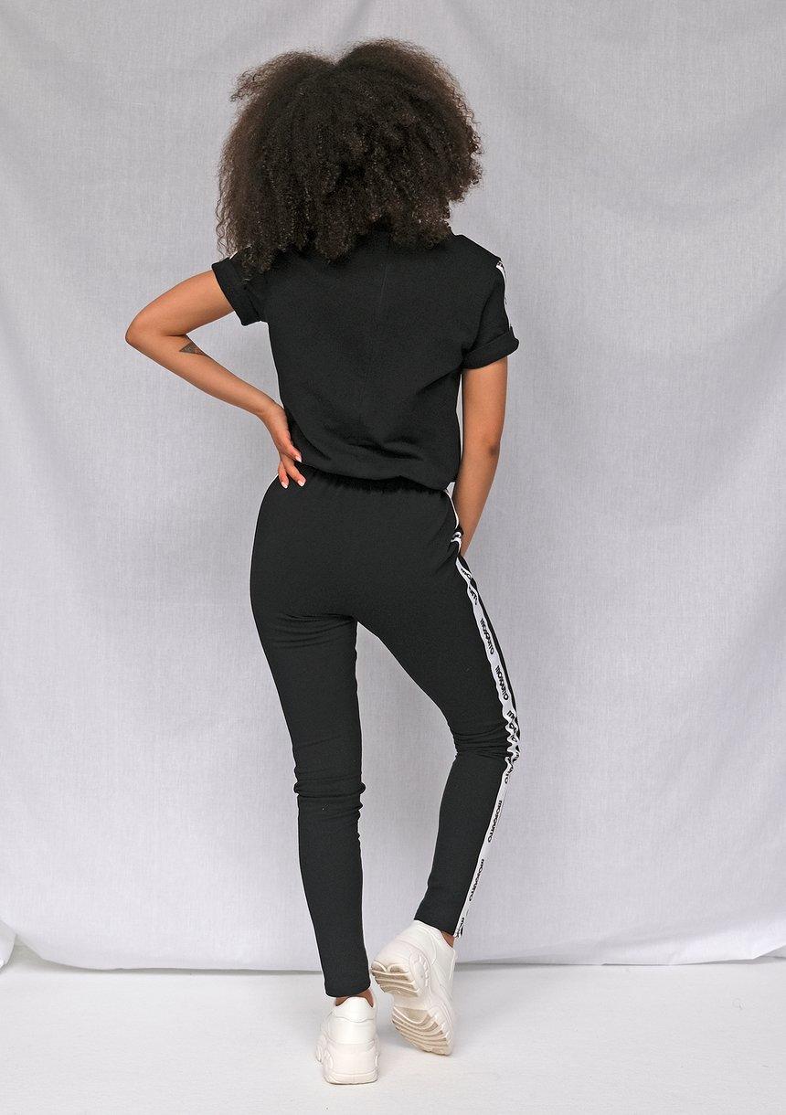 Kombinezon z bawełny logo stripe Czarny