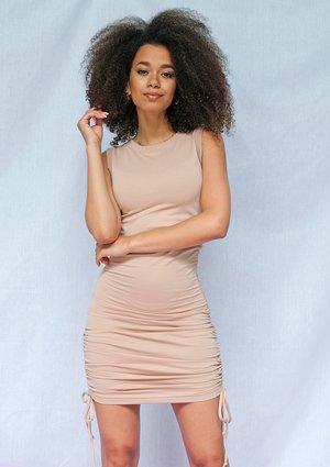 Bawełniana sukienka o regulowanej długości beżowa