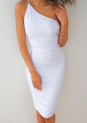 Dopasowana asymetryczna sukienka z drapowaniem Biała