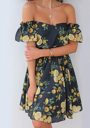 Skater off shoulder dress in lemon print