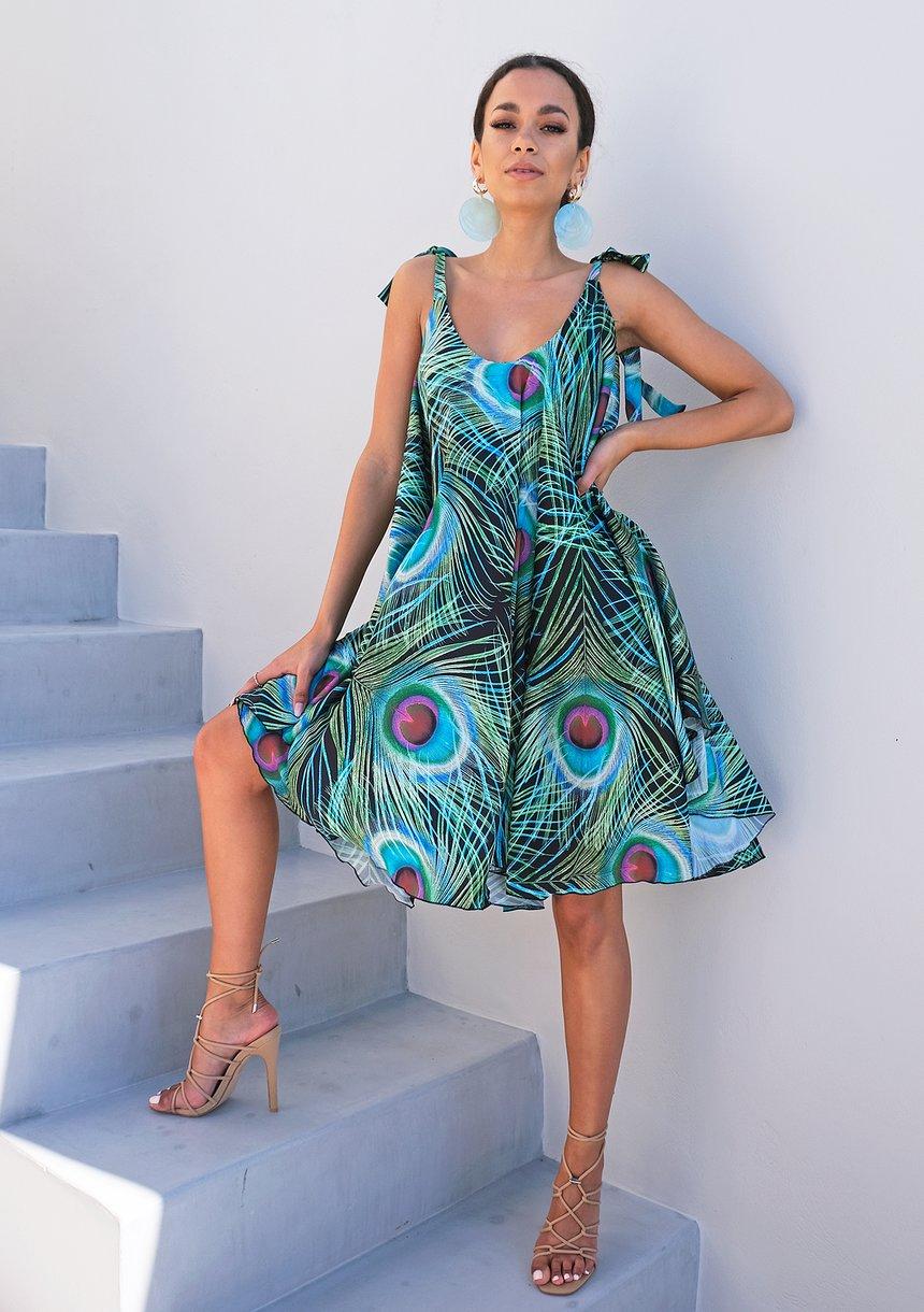 Sukienka wiązana na ramionach z satyny Pawie Pióra