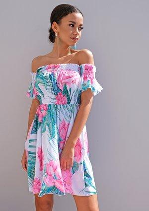 Mini off shoulder dress in peacock print