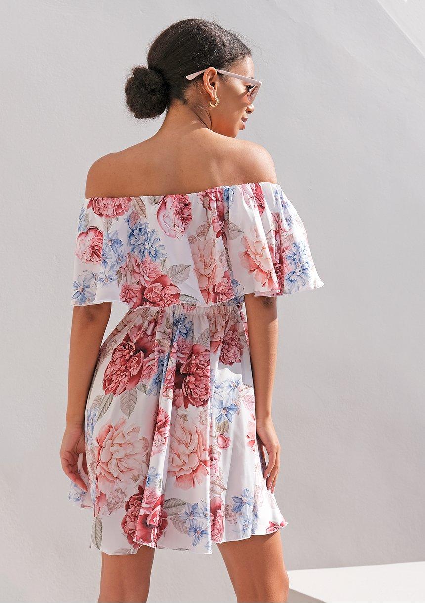Rozkloszowana sukienka z falbaną Satin Flowers