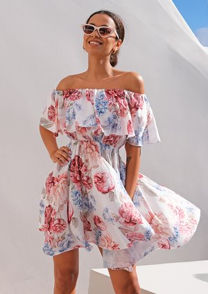 Skater off shoulder dress in peony flowers print