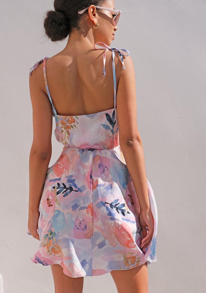 Sukienka mini satin flowers