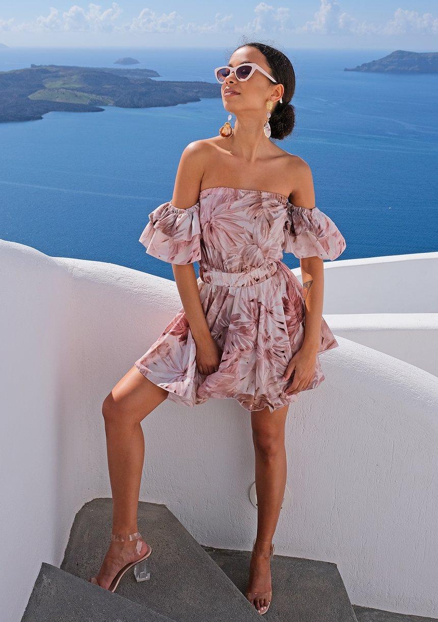 Mini sukienka pastel leaves Beżowa