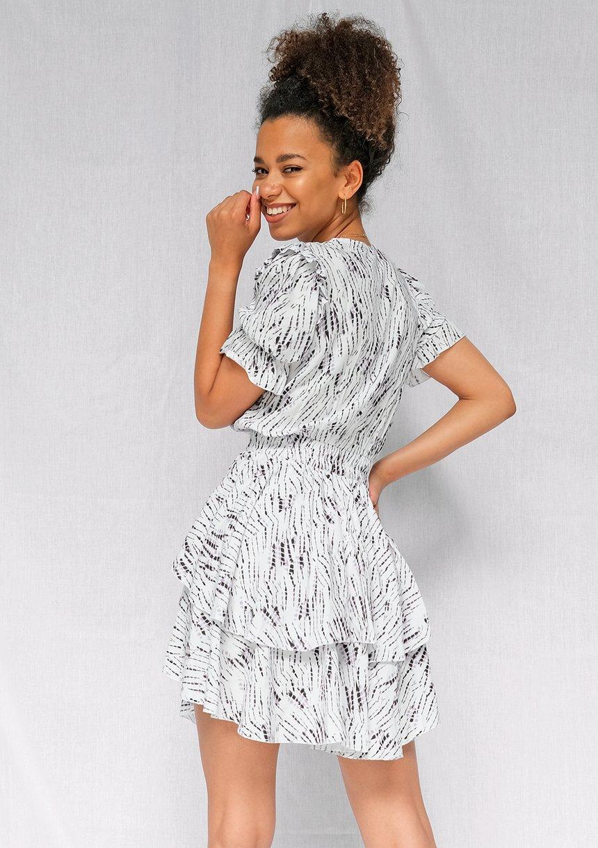 Kopertowa sukienka z wiskozy Print Beige