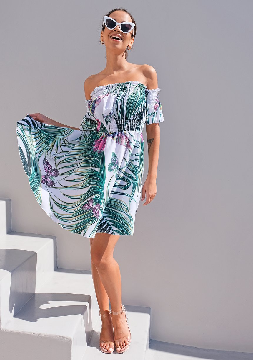 Mini sukienka liście palmy