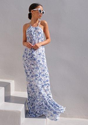 Sukienka maxi z falbaną Santorini