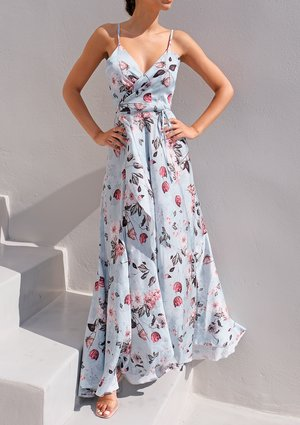 Cami wrap maxi dress in flowers print