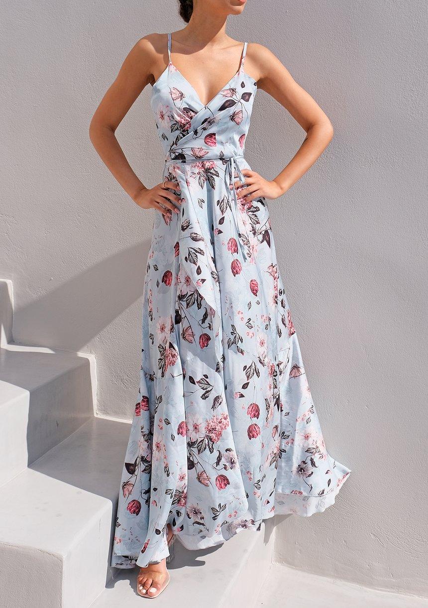 Kopertowa sukienka maxi na ramiączkach Flowers