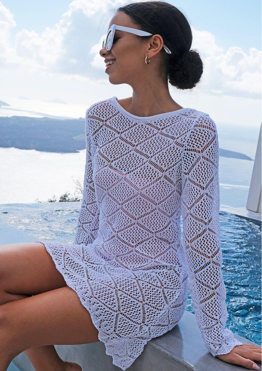 Plażowa tunika z bawełny ażur ILM A.. Biała