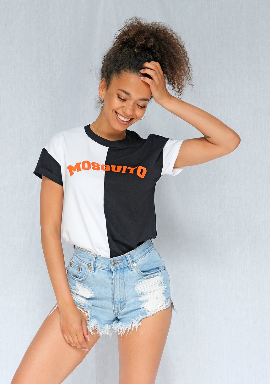 Dwukolorowy T-shirt Orange logo ILM