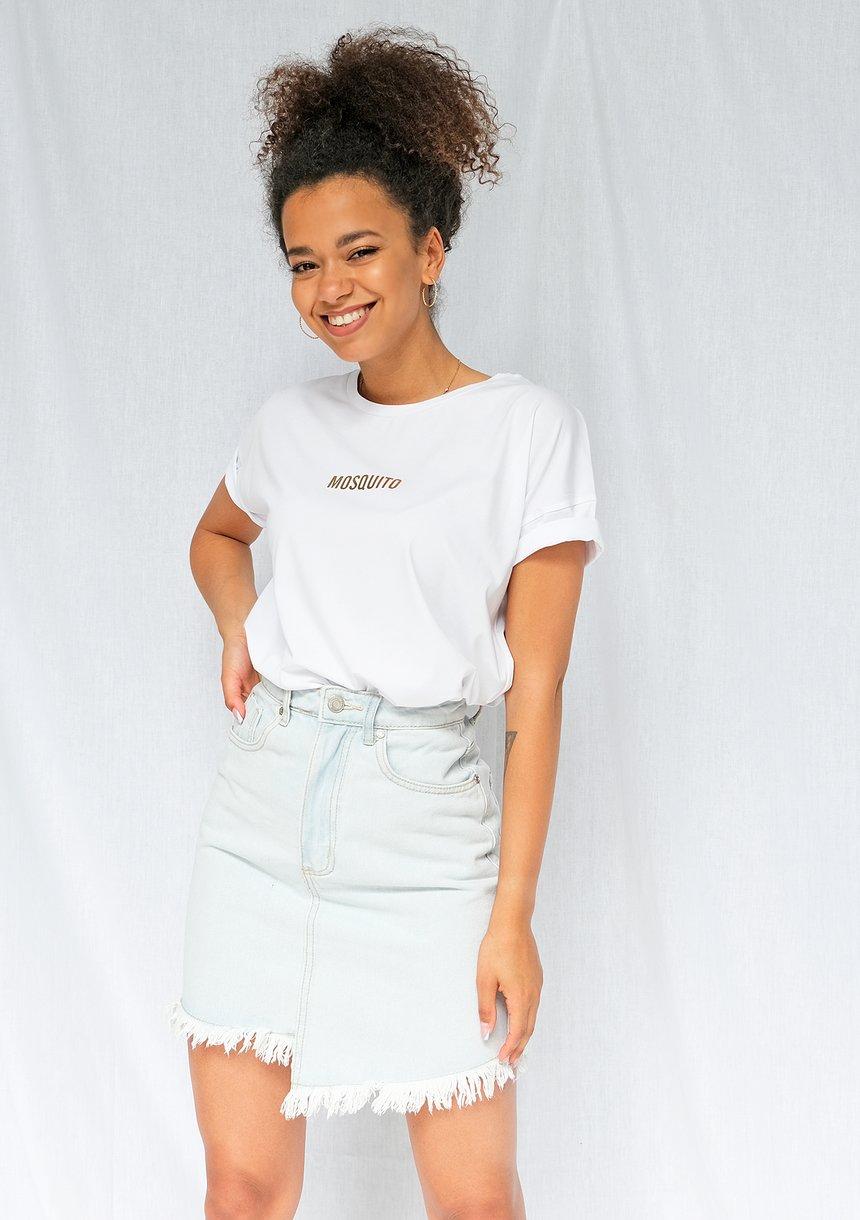 "T-shirt basic ""Gold logo 1"" Biały ILM"