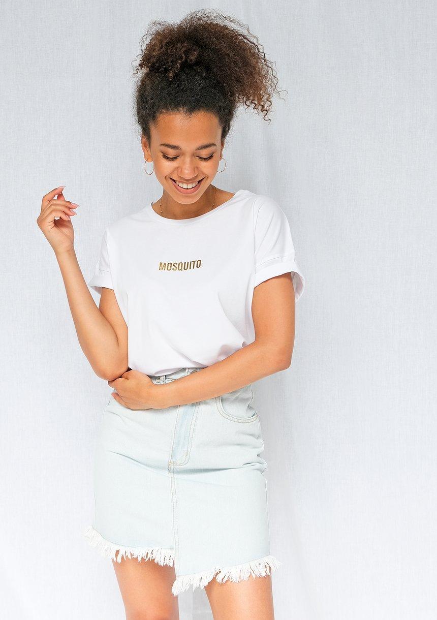 T-shirt basic Gold logo Biały ILM