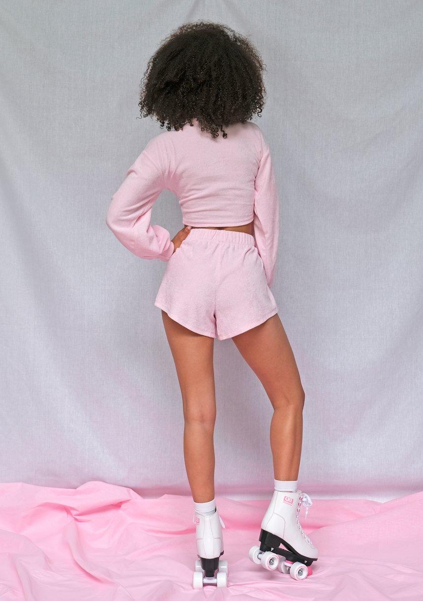 Komplet z szortami frotte różowy ILM