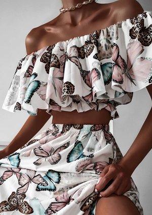 Butterflies print maxi skirt with crop top