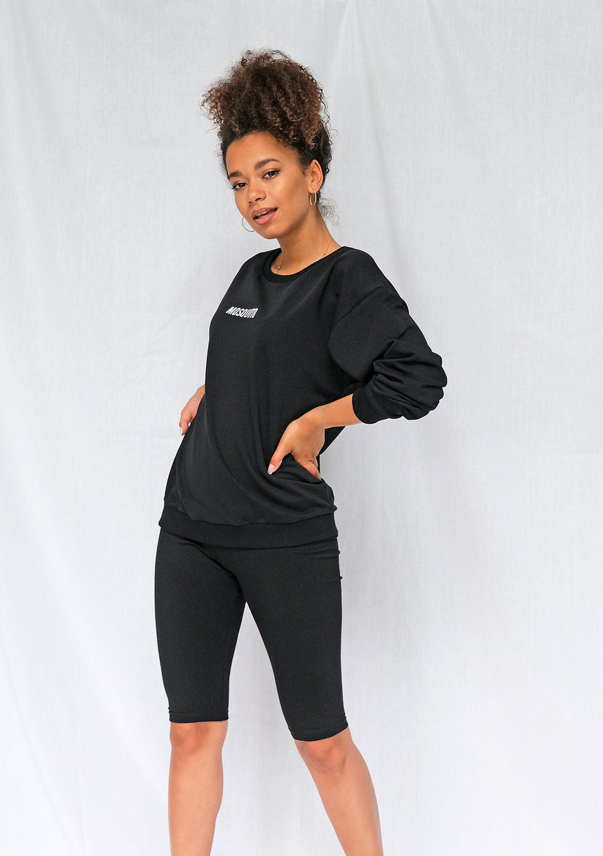 Bluza basic z logo czarna ILM