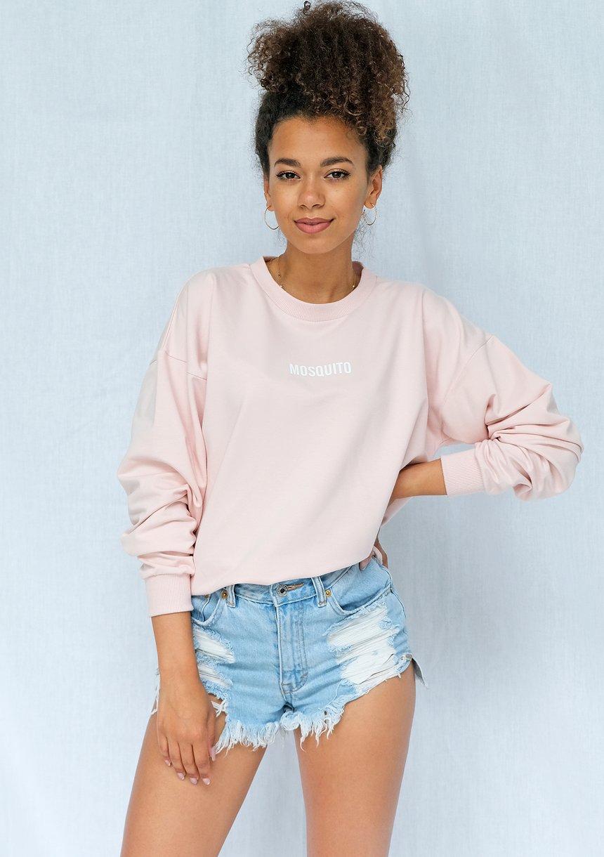 Bluza basic z logo pudrowy róż ILM