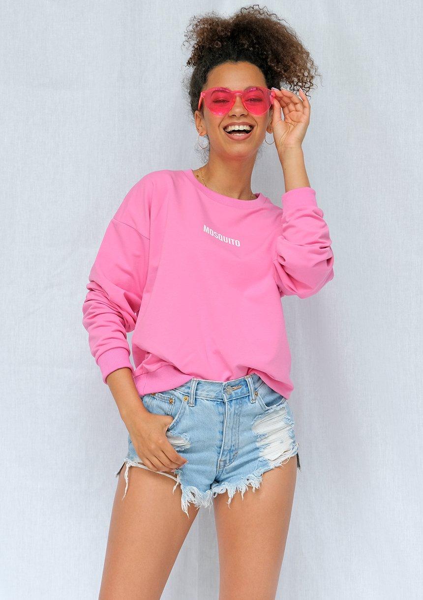 Bluza basic z logo fuksja ILM