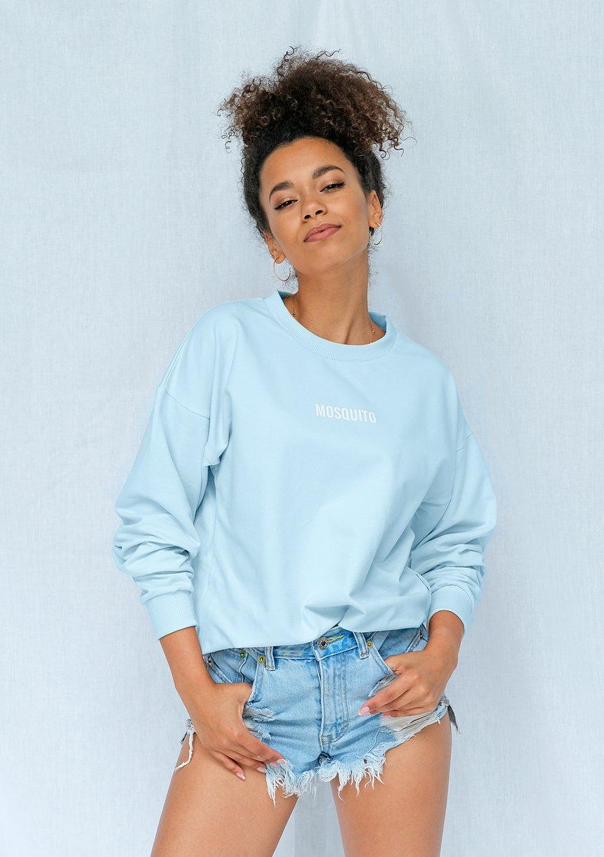 Bluza basic z logo błękitna ILM