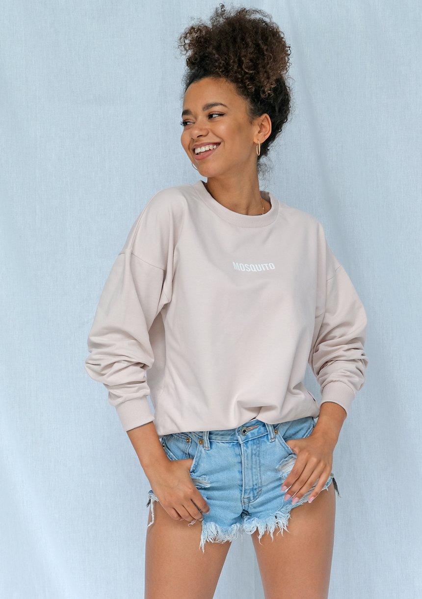 Bluza basic z logo beżowa ILM