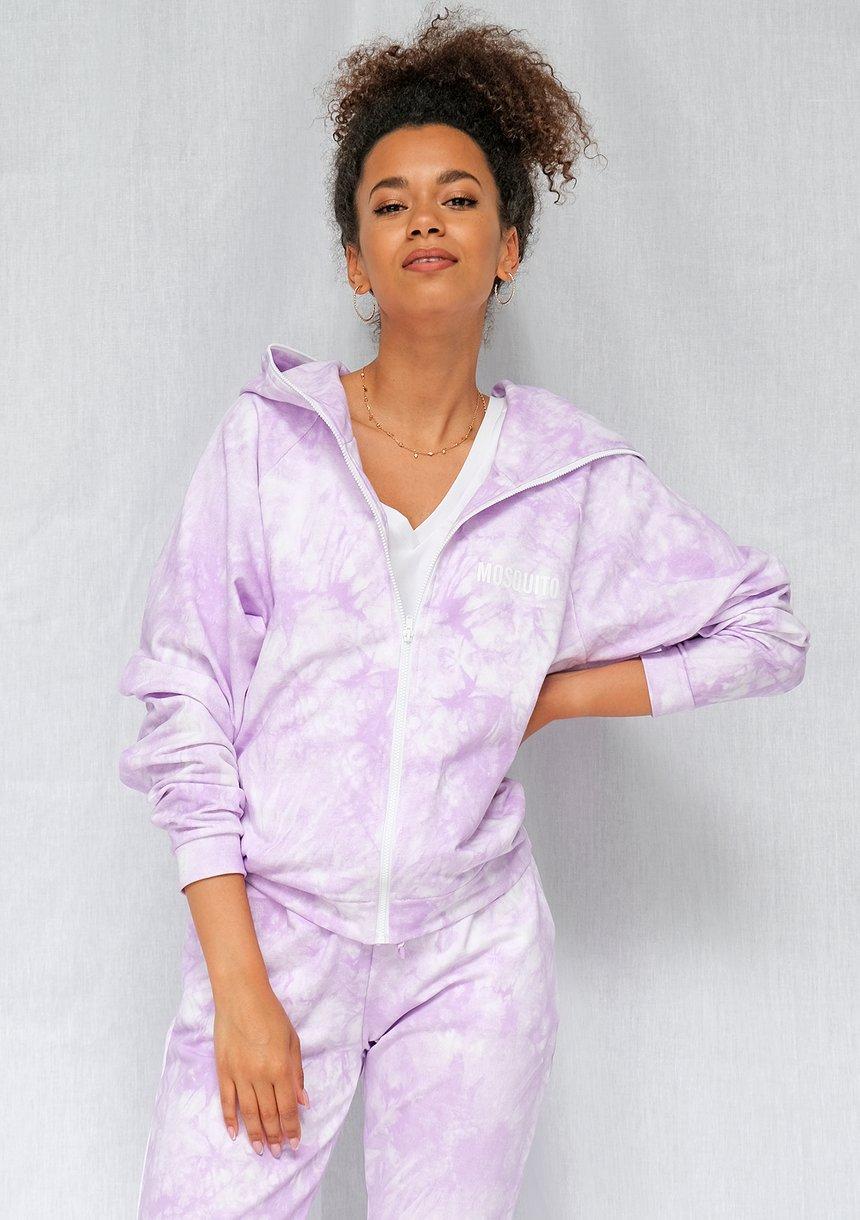 Bluza rozpinana z efektem sprania lila ILM
