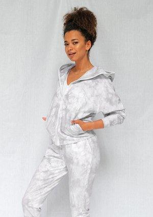 Grey acid wash zip up hoodie ILM