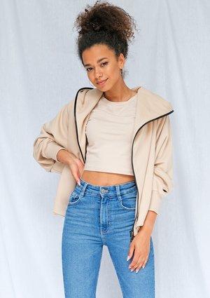 Beige oversized zip up hoodie ILM